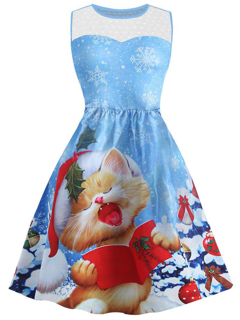 Christmas Snowflake Cat Print Mesh Panel Dress - BLUE S