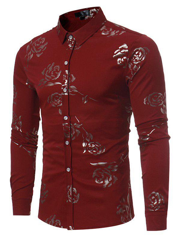 Floral Brocade Slim Fit Long Sleeve Shirt - RED XL