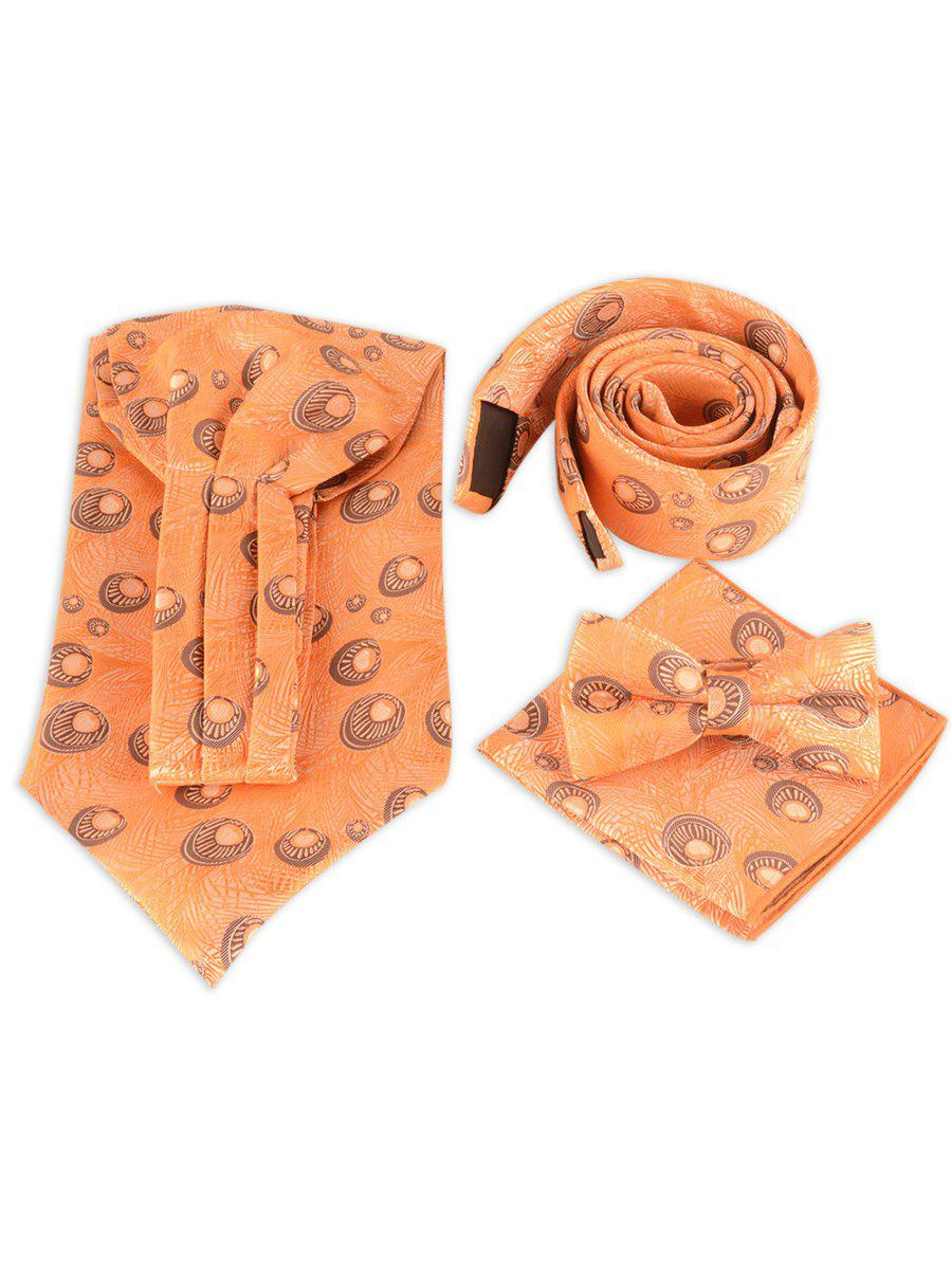 Necktie Handkerchief Bowtie with Peacock Printing - YELLOW