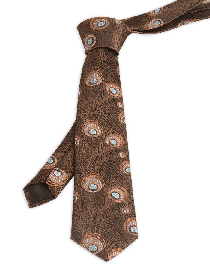 Peacock Feather Printed Skinny Necktie - BROWN