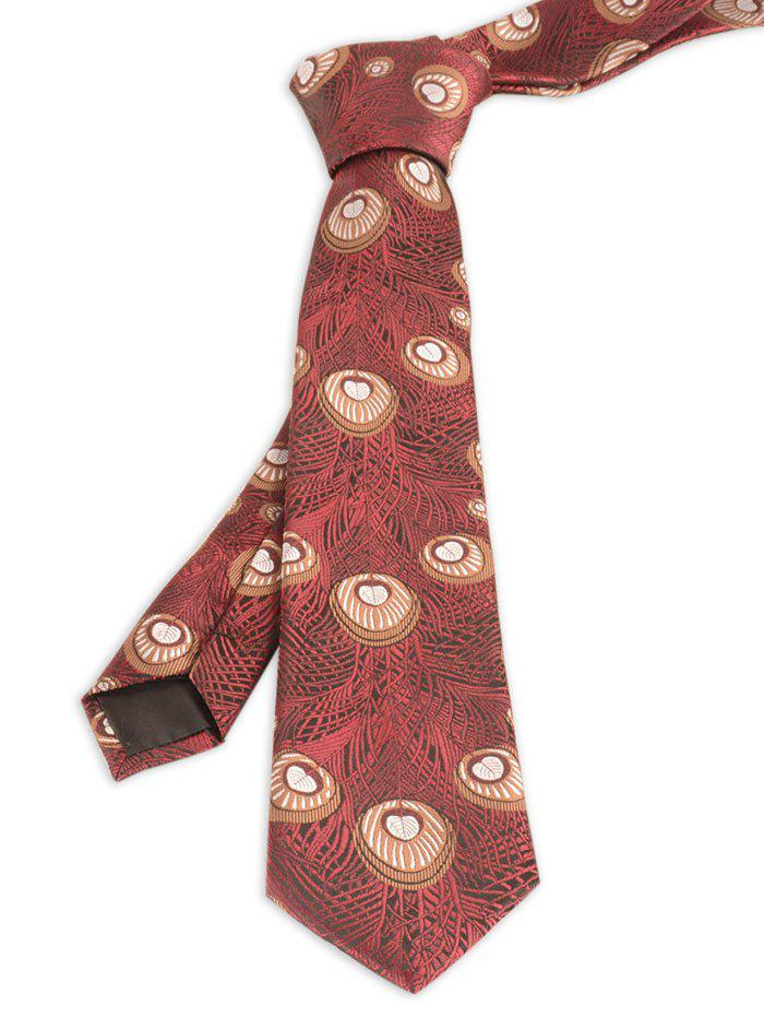 Peacock Feather Printed Skinny Necktie - WINE RED