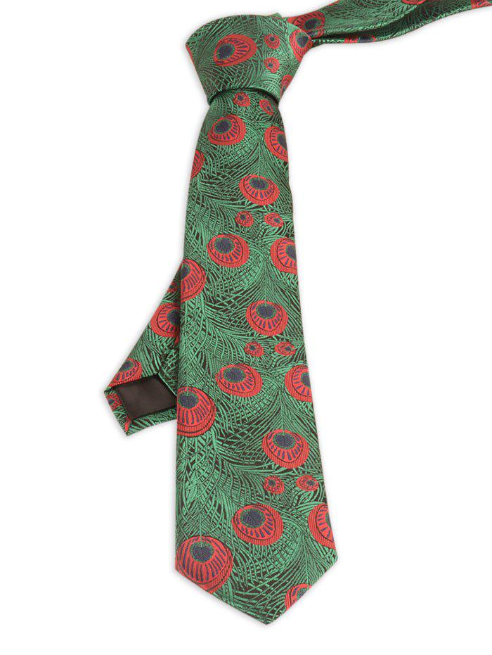 Peacock Feather Printed Skinny Necktie - GRASS GREEN