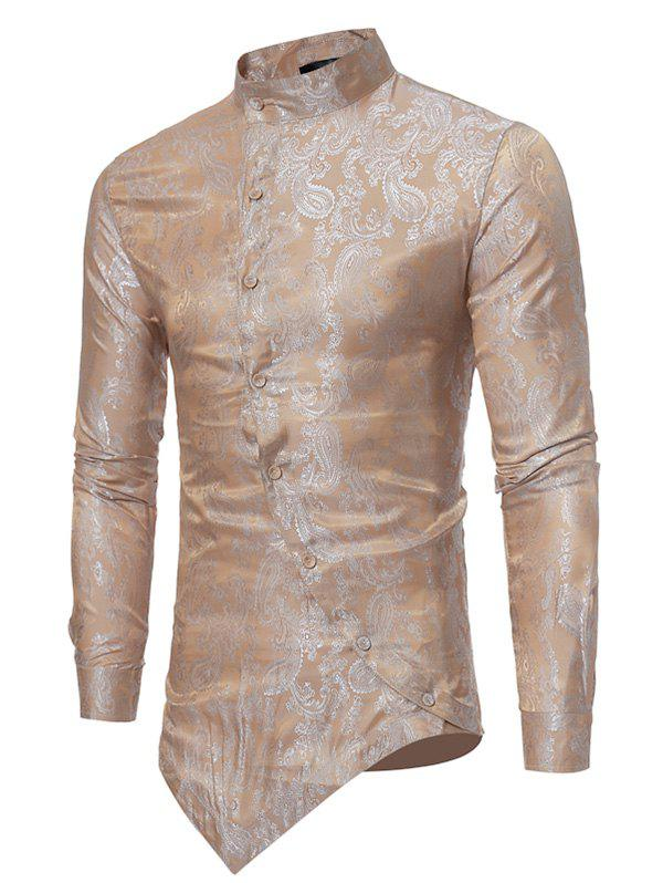 Mandarin Collar Asymmetrical Hem Paisley Shirt - ORANGE S