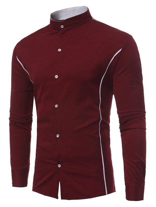 Single Stripe Button Down Long Sleeve Shirt - WINE RED XL
