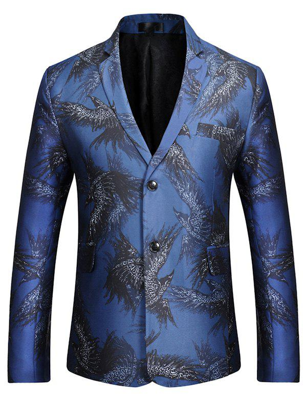 Notch Lapel Eagle Print Casual Blazer - Bleu XL