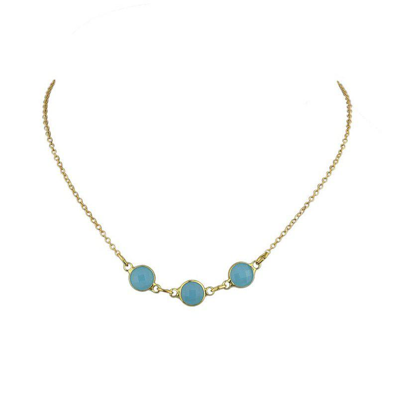 Natural Rhinestone Embellished Charm Nacklace - BLUE
