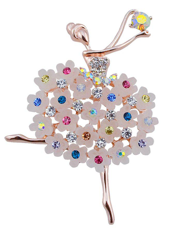 Rhinestone Flower Dancing Fairy Brooch - COLORMIX