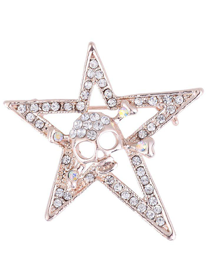 Rhinestone Embellished Halloween Skull Star Alloy Brooch