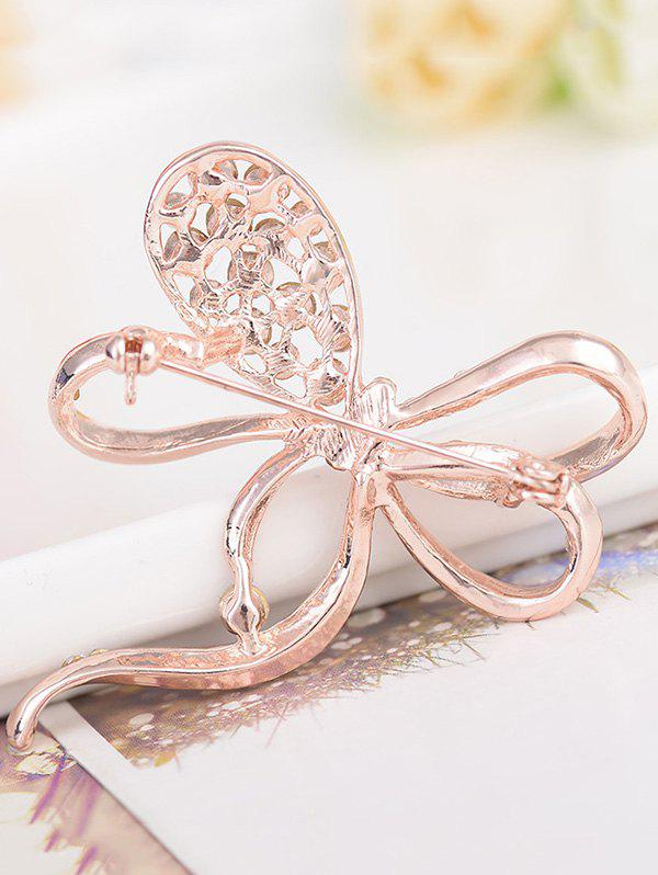Rhinestone Hollow Out Bowknot Alloy Brooch - ROSE GOLD