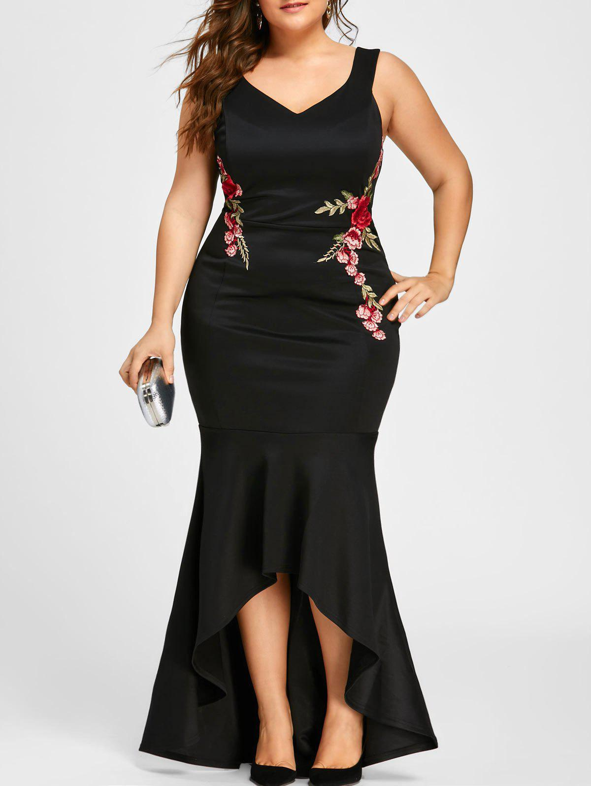 2018 Plus Size V Neck Sleeveless Mermaid Dress BLACK XL In Plus ...