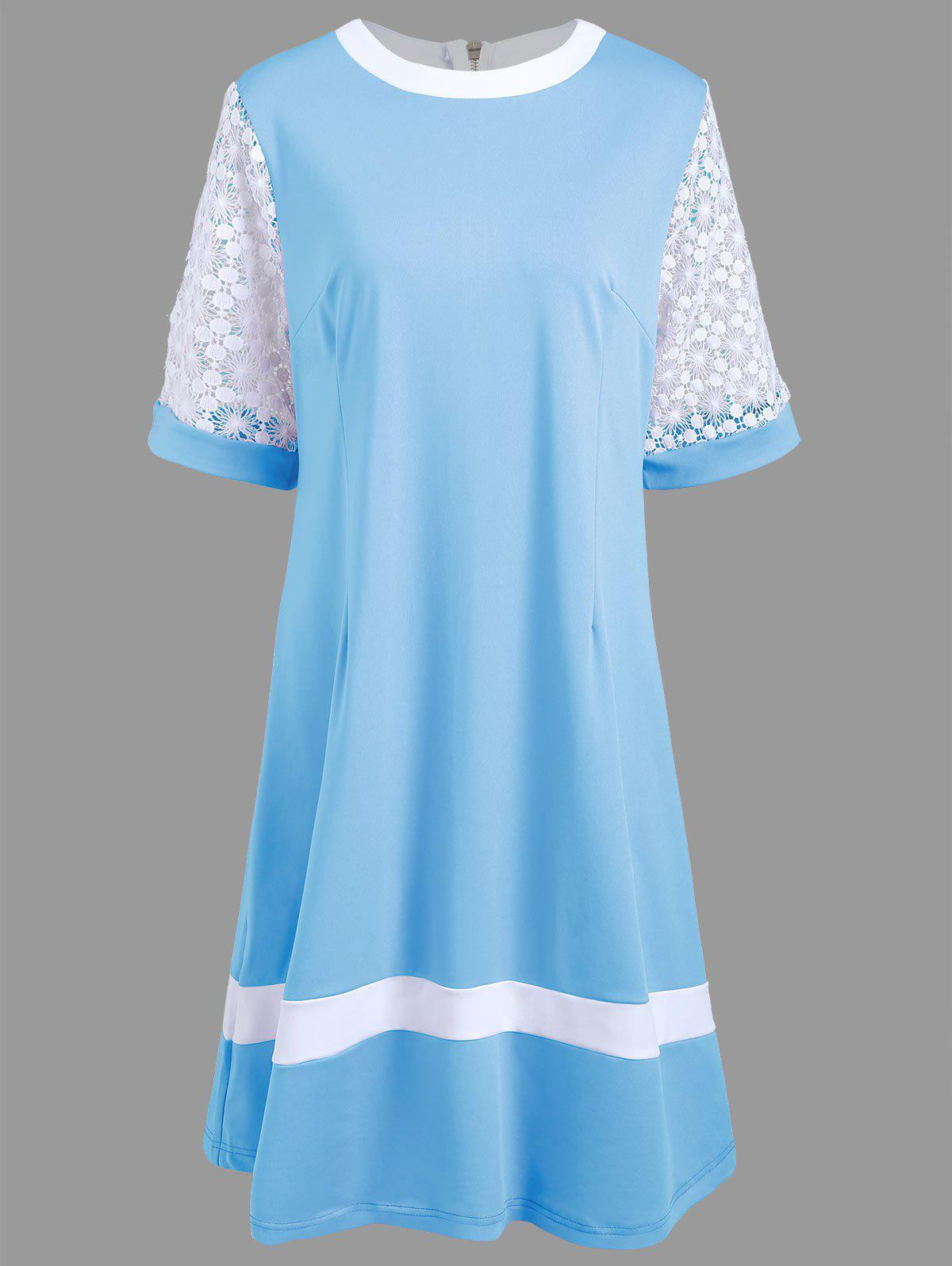 Plus Size Crochet Lace Trim A Line Dress - CLOUDY 6XL
