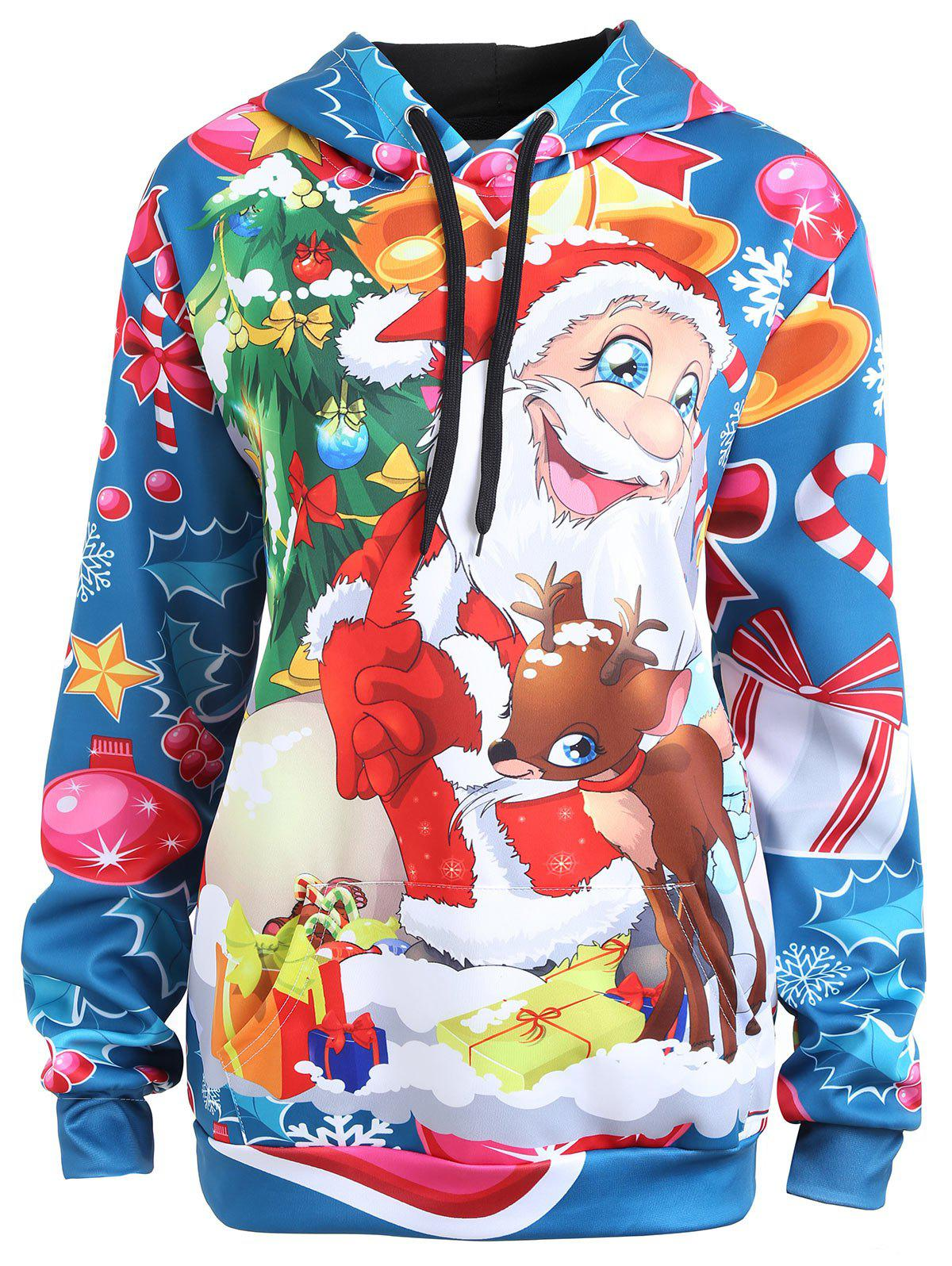 Plus Size Christmas Santa Claus Elk Hoodie inflatable cartoon customized advertising giant christmas inflatable santa claus for christmas outdoor decoration