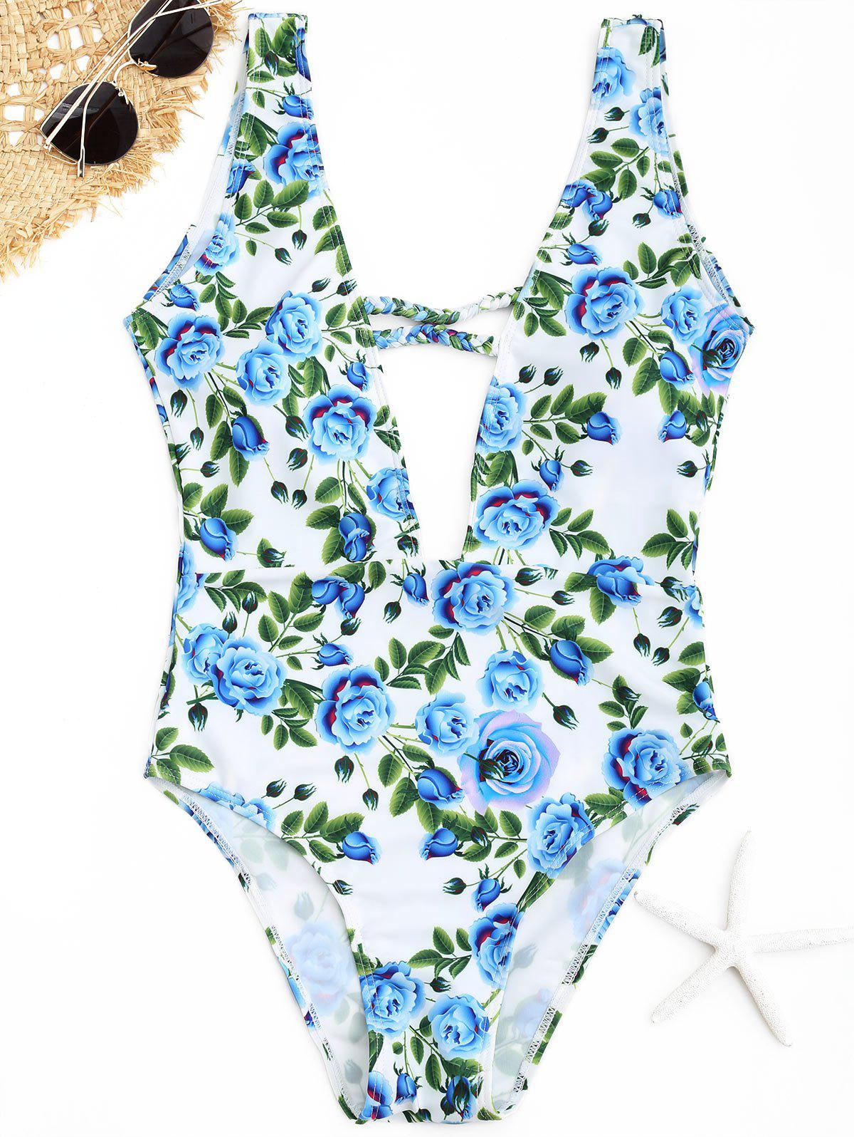Plunge Floral One Piece Swimwear - CLOUDY L