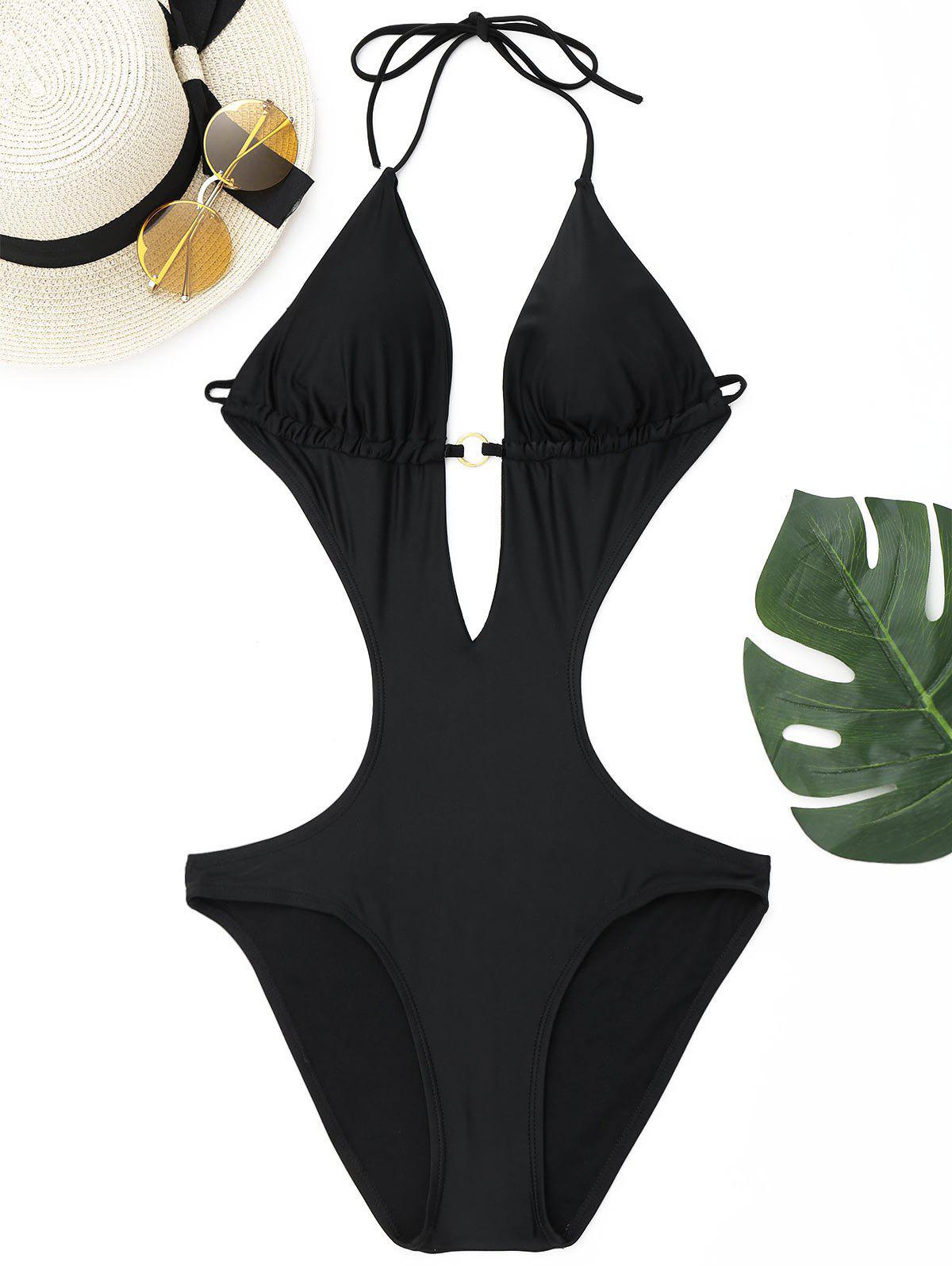Deep V Halter String Swimwear - BLACK L
