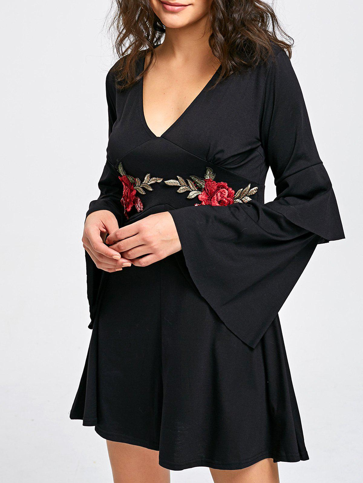 Layered Sleeve V-neck Embroidery Shift Dress - BLACK M