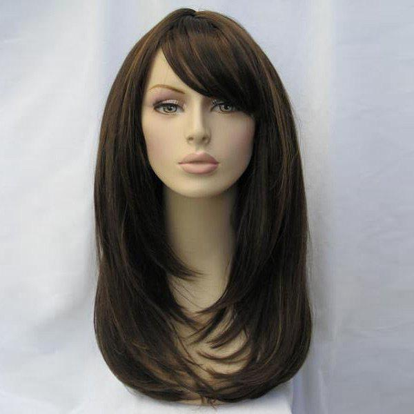 Long Side Fringe Layered Straight Synthetic Wig - BROWN