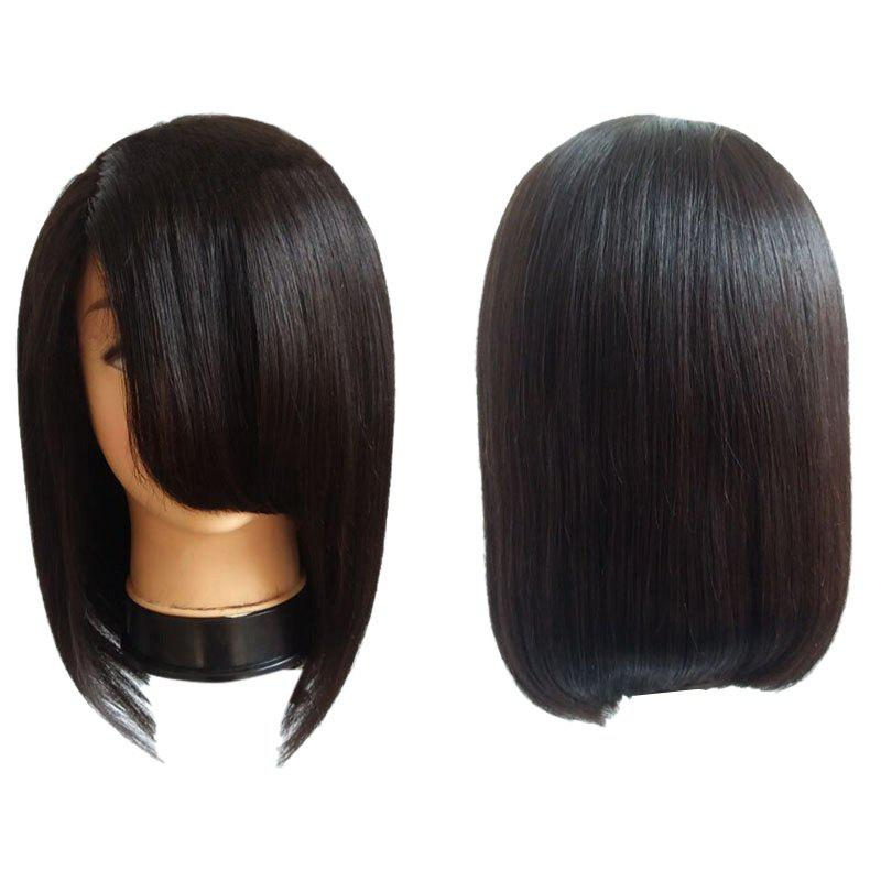 Medium Inclined Fringe Straight Bob Synthetic Wig - BLACK