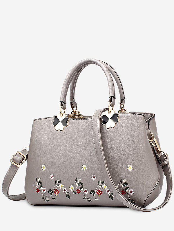 Metal Embroidery Flower Tote Bag - BRONZE COLORED