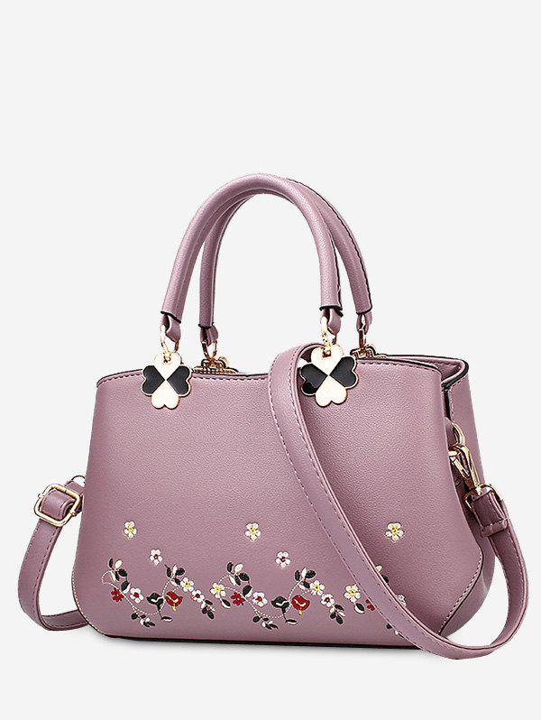 Metal Embroidery Flower Tote Bag - PURPLE