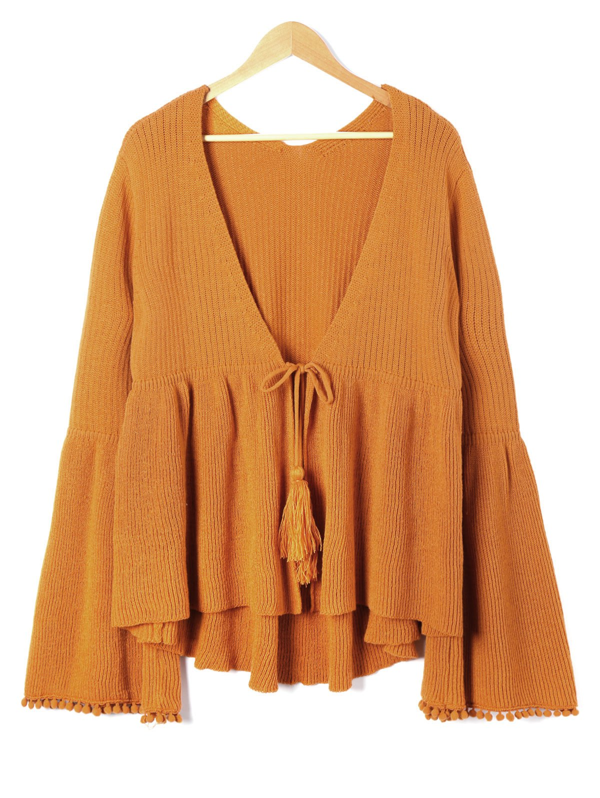 2018 Plus Size Flare Sleeve Tassel Tie Up Cardigan GOLD BROWN XL ...