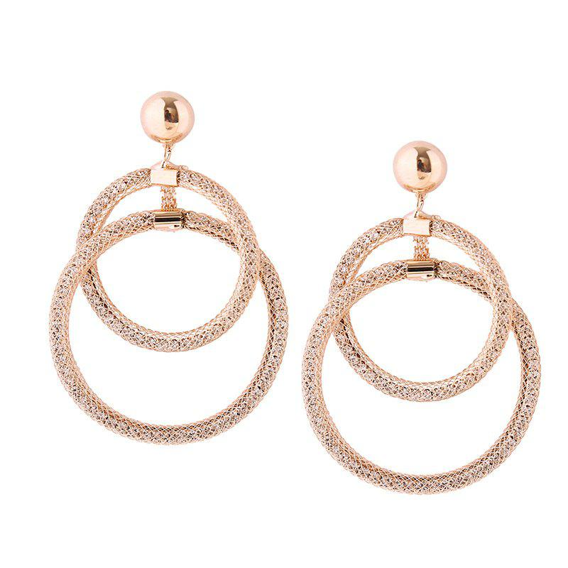 Alloy Statement Round Hoop Drop Earrings bow detail hoop drop earrings