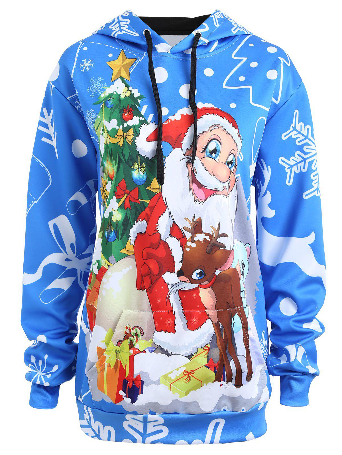 Plus Size Christmas Santa Claus Snowflake Hoodie - BLUE 5XL