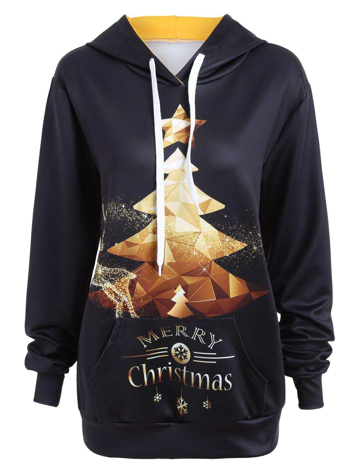 Merry Christmas Glitter Tree Elk Snowflake Hoodie - BLACK XL