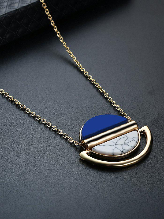 Oval Two-tone Alloy Pendant Necklace - GOLDEN