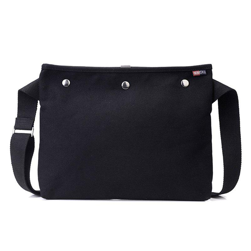 Canvas Studs Crossbody Bag - BLACK