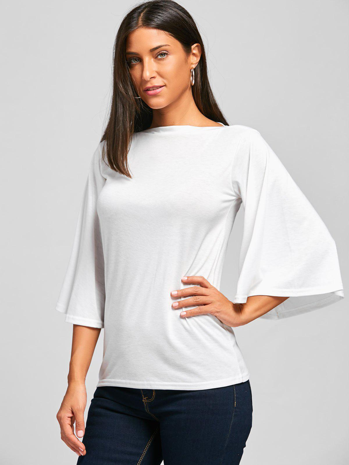 2018 Bell Sleeve Tunic T Shirt White S In Tees T Shirts