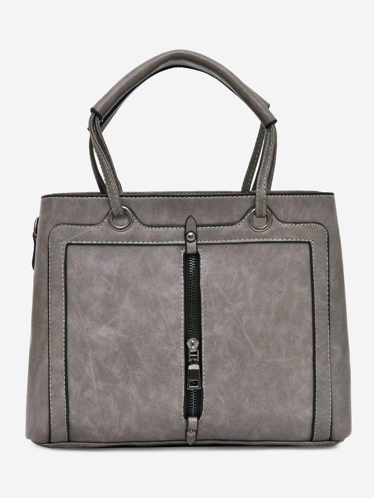 Zipper Detailed PU Leather Tote Bag - GRAY