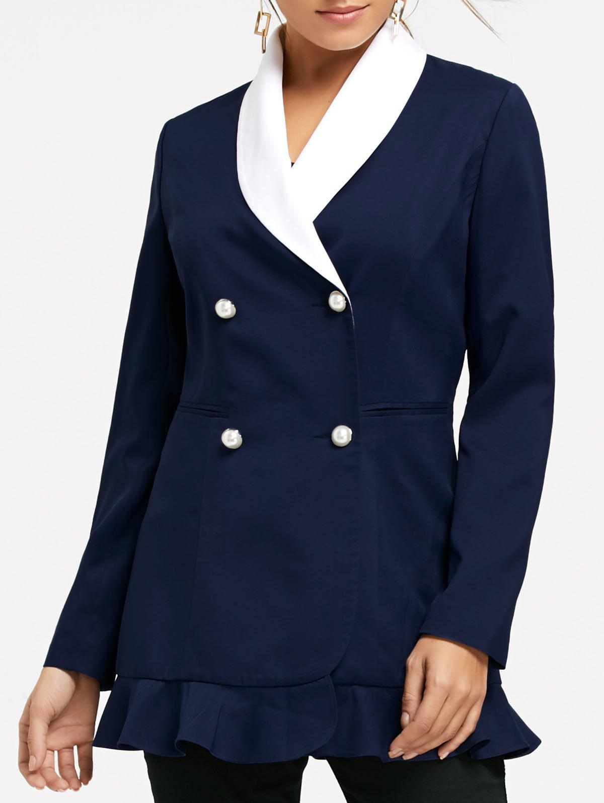 Double Breast Shawl Collar Peplum Blazer - CERULEAN M