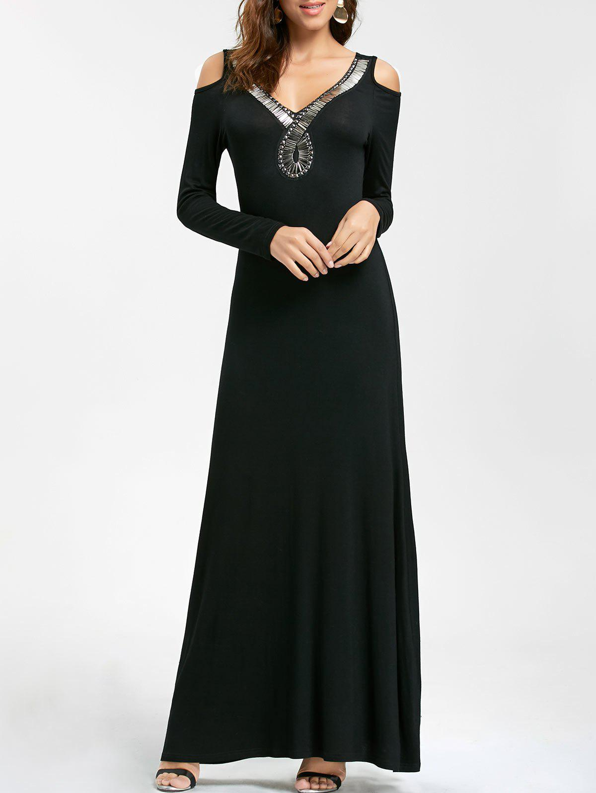 Long Sleeve Beaded Maxi Cold Shoulder Dress club style one shoulder black long beaded sleeve dress for women