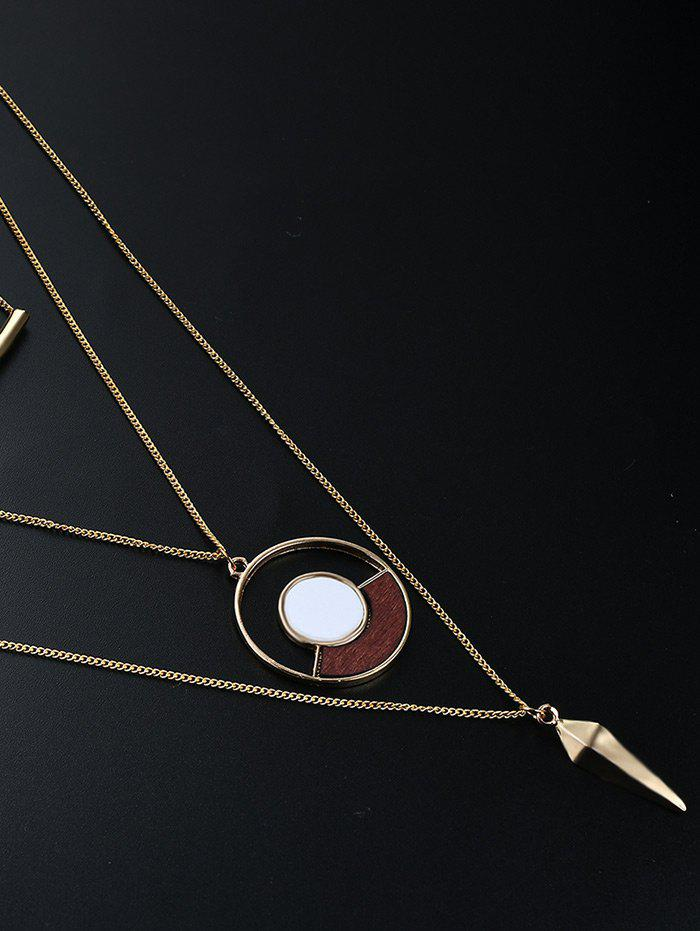 Hollow Out Circle Bullet Layered Necklace - GOLDEN