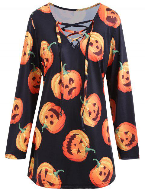 Lace Up Halloween Pumpkin Plus Size Tee - BLACK 2XL