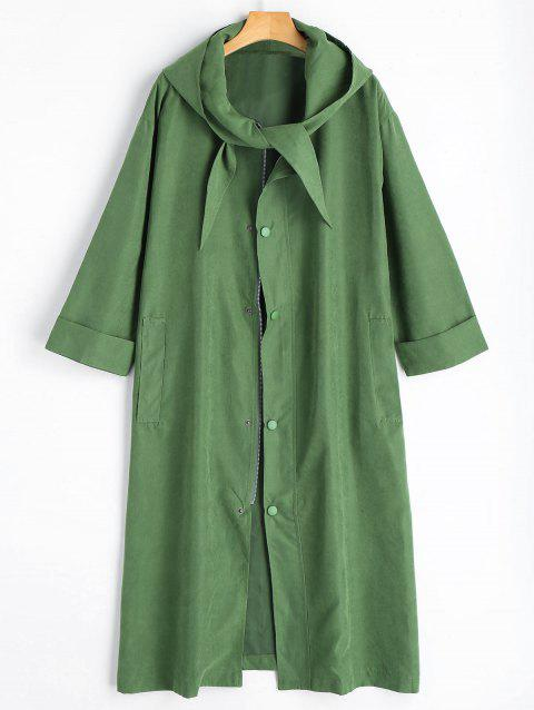 Long Plus Size Button Up Hooded Coat - ARMY GREEN 4XL