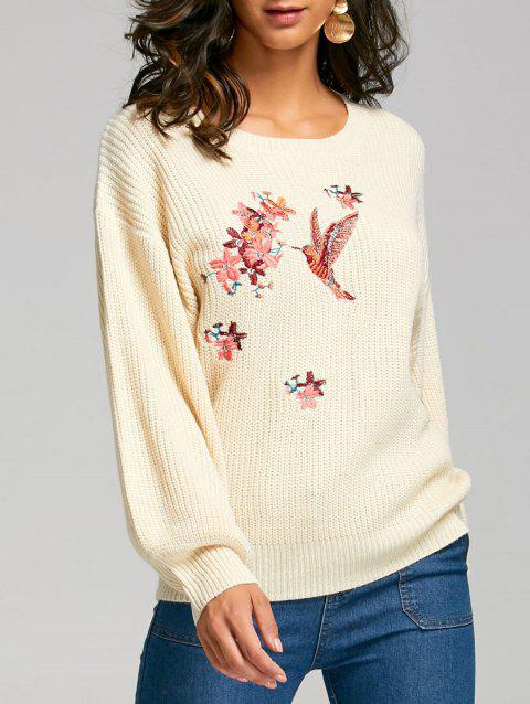 Ribbed Puff Sleeve Embroidery Sweater - APRICOT ONE SIZE