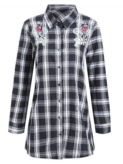 Plus Size Floral Embroidered Plaid Shirt - GRAY 4XL