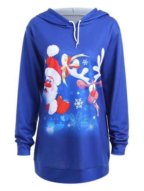 Plus Size Cute Father Christmas Reindeer Graphic Hoodie - BLUE XL