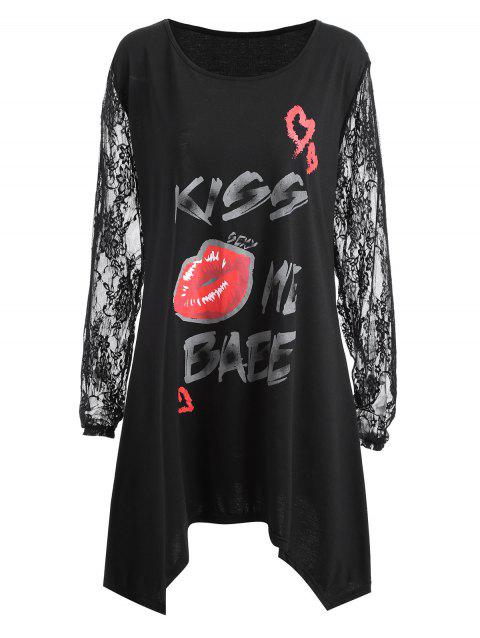 Plus Size Lace Sleeve Kiss Me Baby Lips T-shirt - BLACK 4XL