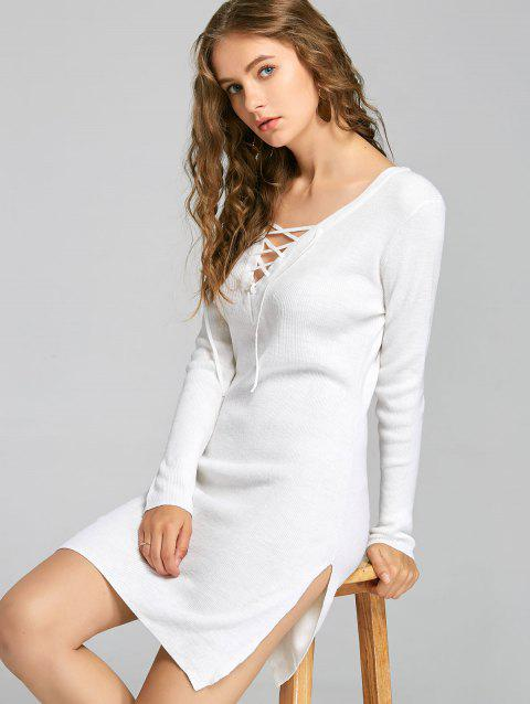 Low Cut Lace Up Slit Knitted Dress - WHITE L