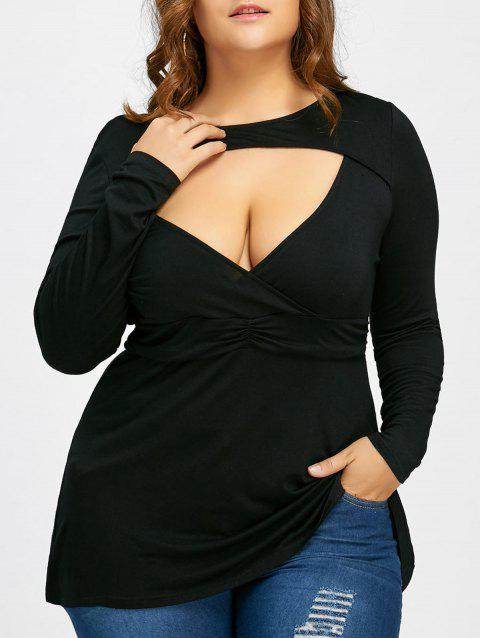 c4b558b9459e7 LIMITED OFFER  2019 Empire Waist Plus Size Cut Out T-shirt In BLACK ...
