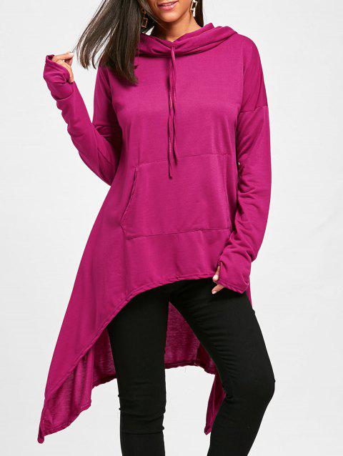 Drawstring High Low Long Sleeve Oversize Hoodie - TUTTI FRUTTI L