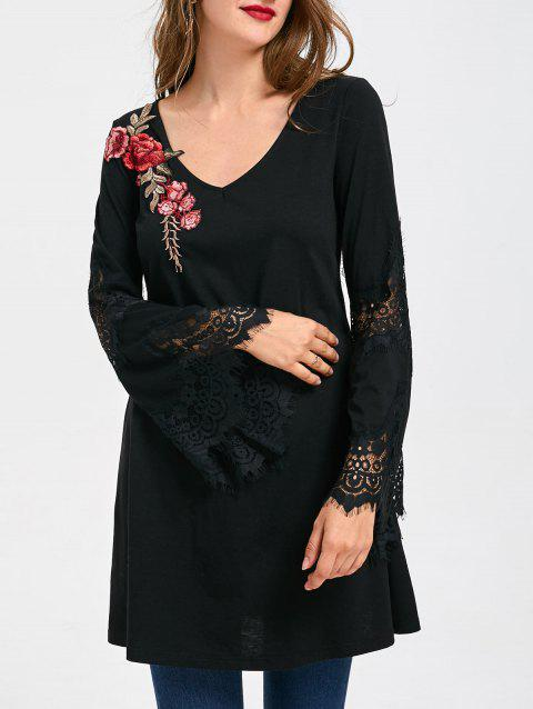 41 Off 2019 Lace Insert Flare Sleeve Embroidered Long Top In Black