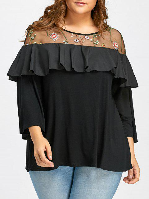 Plus Size Flounce Mesh Panel T-shirt - BLACK 2XL
