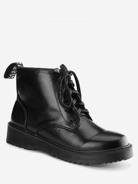 1b09e56647ea Limited Offer 2019 Faux Leather Lace Up Boots In Black 39