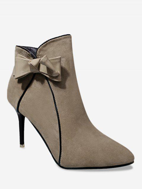 Bow Stiletto Heel Ankle Boots - KHAKI 37