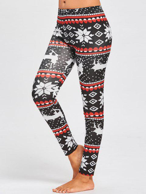 Christmas Snowflake ELK Slim Leggings - FLORAL L