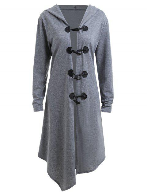 2018 Duffle Button Plus Size Long Hooded Cloak Coat Gray Xl In Plus
