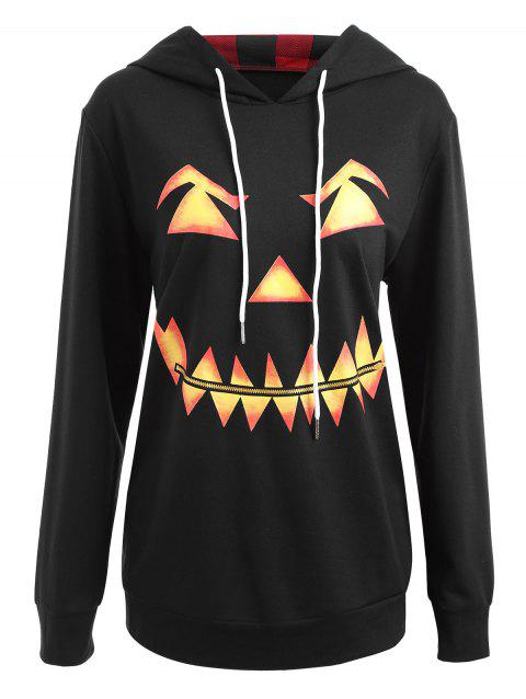 Plus Size Halloween Pumpkin Face Funny Sweatshirt - BLACK 5XL